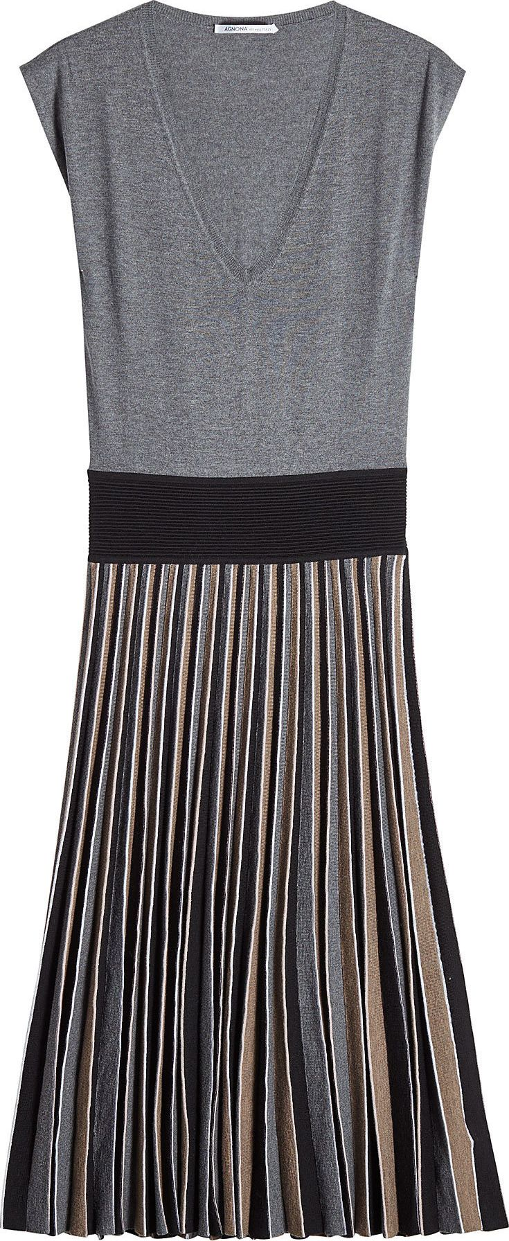 Agnona - Wool Dress with Pleated Skirt