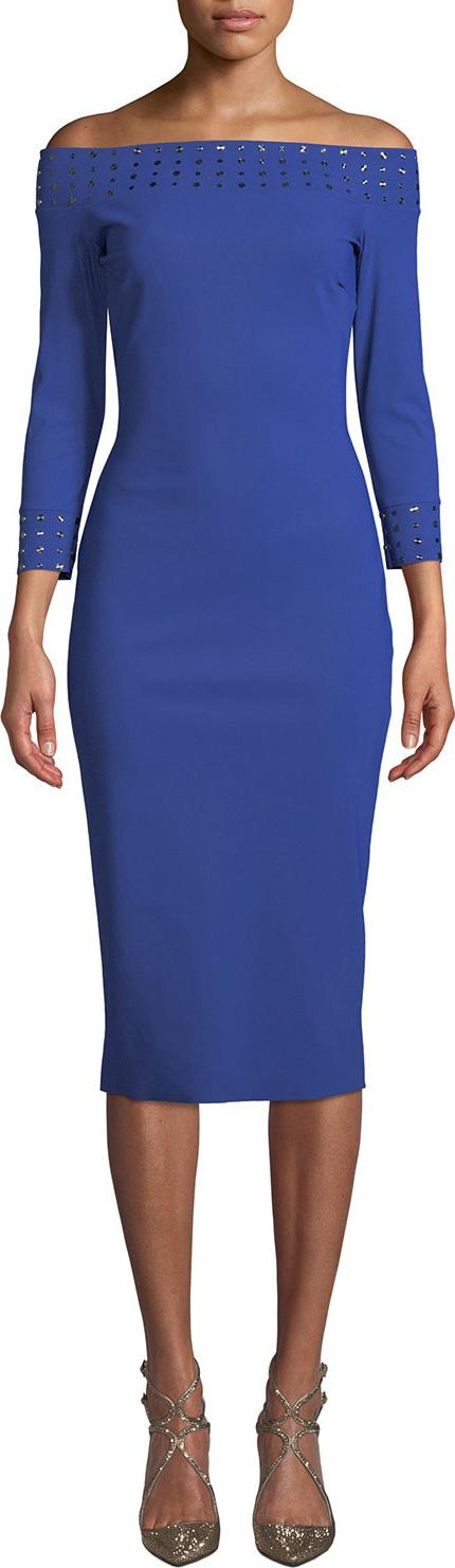 La Petite Robe di Chiara Boni Guglielmina Studded Off-the-Shoulder Bodycon Dress