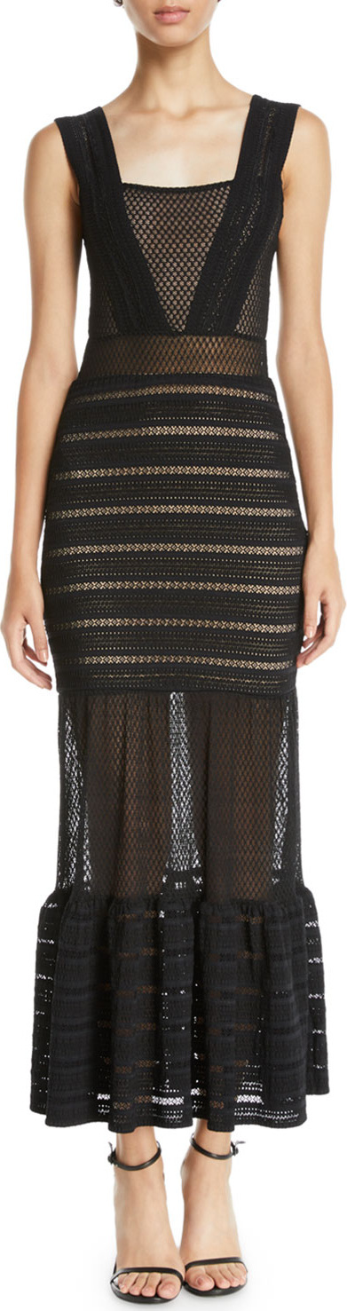 Nightcap Clothing The Martini Mixed Lace Sleeveless Gown