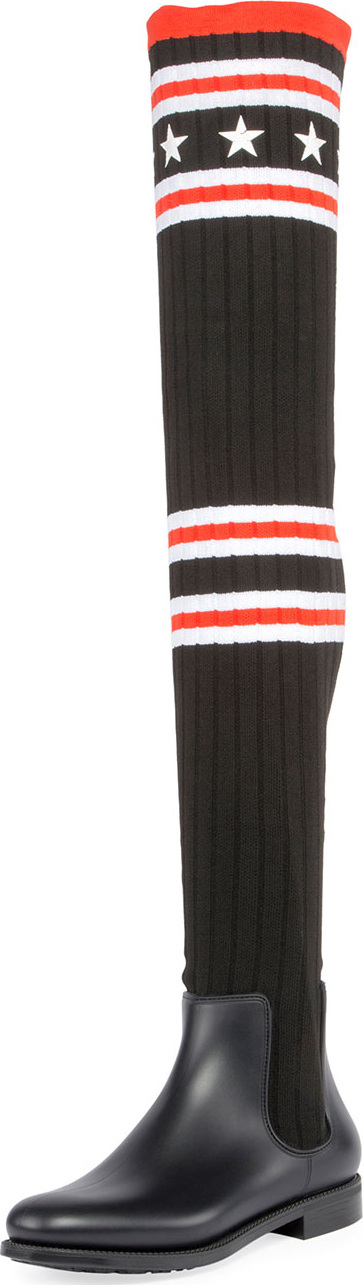 Givenchy Over-the-Knee Rubber Sock Boot