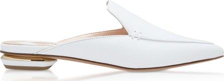 Nicholas Kirkwood White Grainy Leather 18mm Beya Flat Mules