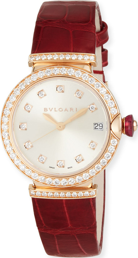 BVLGARI 33mm LVCEA 18K Pink Gold Watch