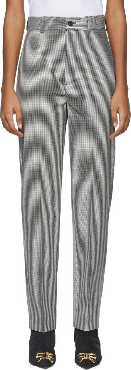 Balenciaga Black & White Houndstooth Tailored Trousers