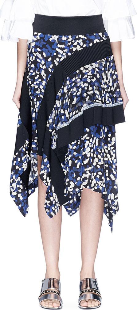3.1 Phillip Lim Brushstroke print asymmetric tiered silk crepe skirt