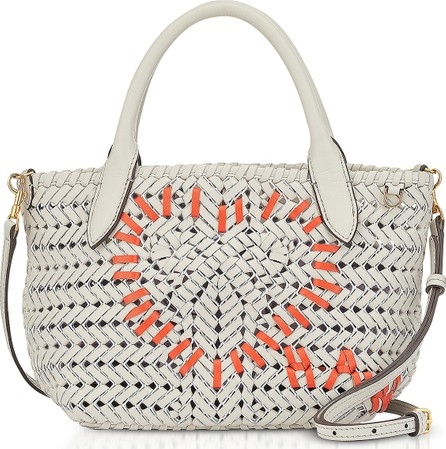 Anya Hindmarch Chalk Calf Leather The Neeson Mini Heart Tote