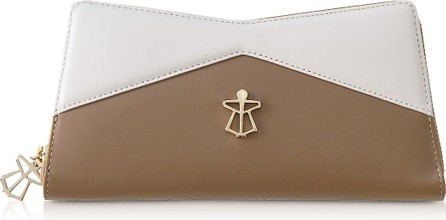 Lara Bellini Beige and White Leather Vela Women's Continental Wallet