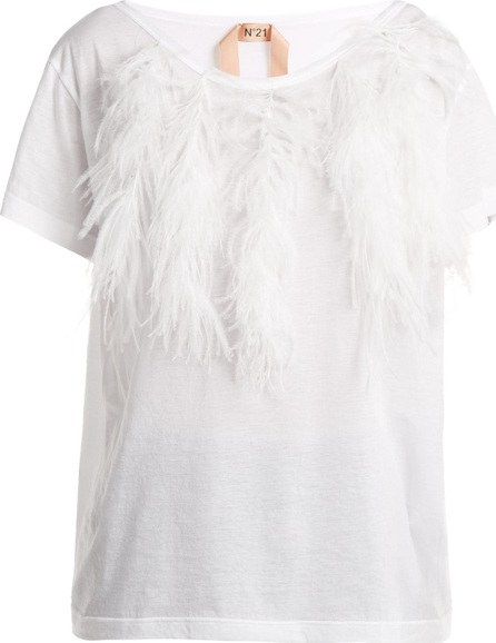 Nº21 Feather-trimmed cotton T-shirt