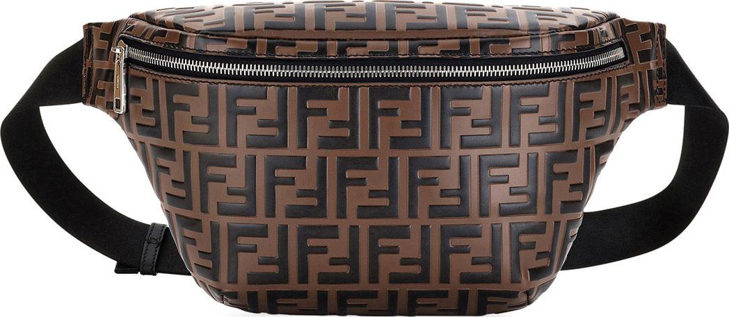 ab839058ff Men's FF Embossed Leather Belt Bag/Fanny Pack