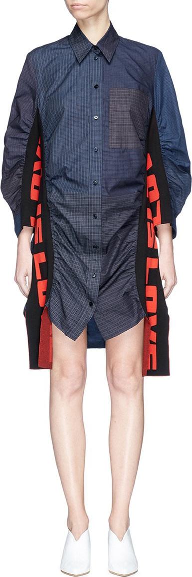 Stella McCartney 'Raven' slogan sash check shirt dress