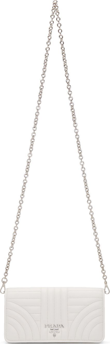 Prada White Quilted Wallet Chain Bag