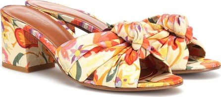 Etro Printed satin and leather sandals