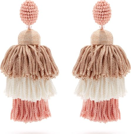 Oscar De La Renta Tiered tassel-drop clip-on earrings