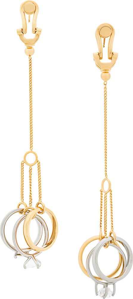 Jil Sander Long triple-shoop earrings