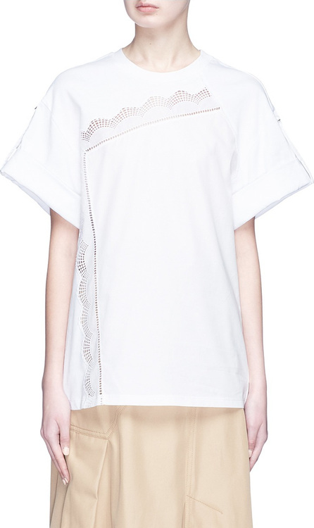 3.1 Phillip Lim Harness sleeve broderie anglaise trim T-shirt