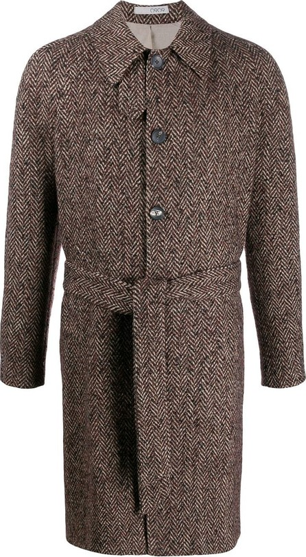 0909 Belted chevron coat