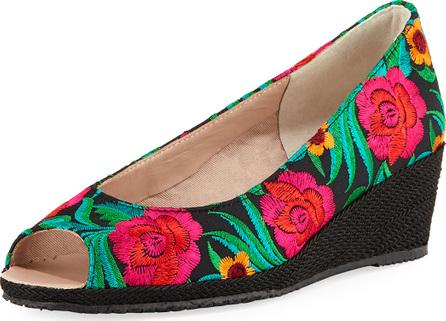 Sesto Meucci Bali Takumi Floral Peep-Toe Wedge Espadrille Sandal