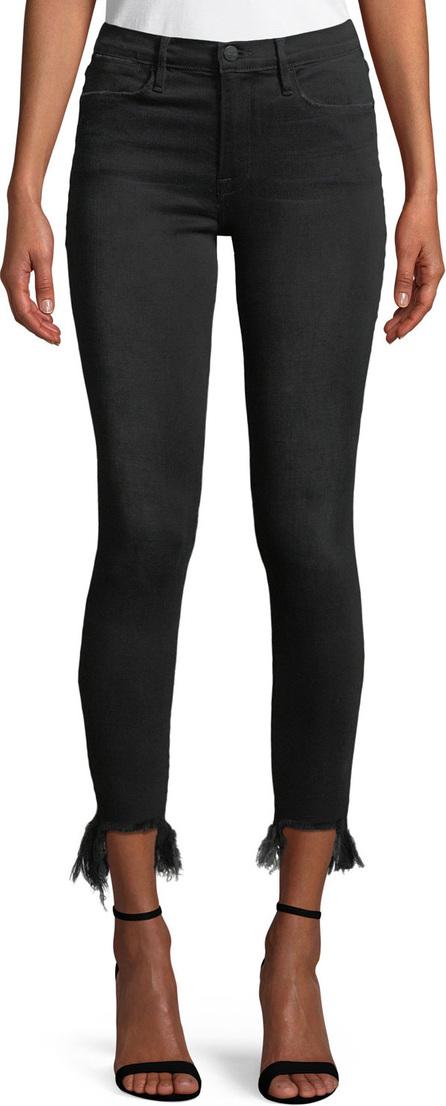 FRAME DENIM Le High Skinny Stiletto Jeans w/ Frayed Hem