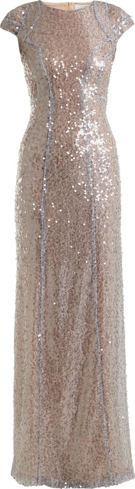 Galvan Estrella cap-sleeved sequin-embellished gown