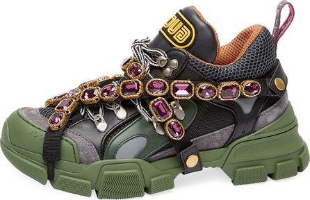 Gucci Tech Canvas Hiker Sneakers with Jeweled Strap