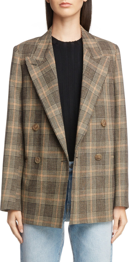 Acne Studios Check Double Breasted Wool & Cotton Jacket