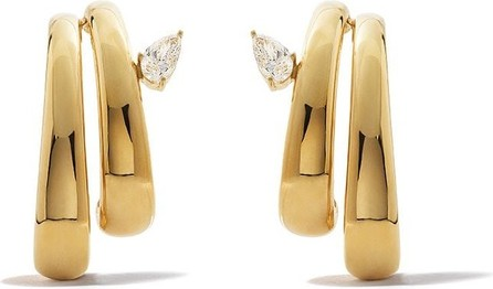 AS29 18k yellow gold Bombee pear diamond double branches earrings