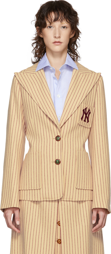 Gucci Beige & Red NY Yankees Edition Patch Blazer