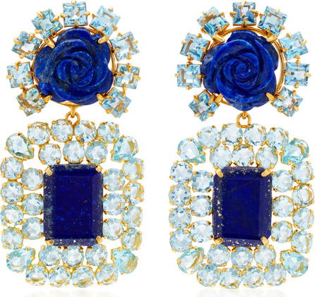 Bounkit Lapis and Quartz Rose Drop Earrings