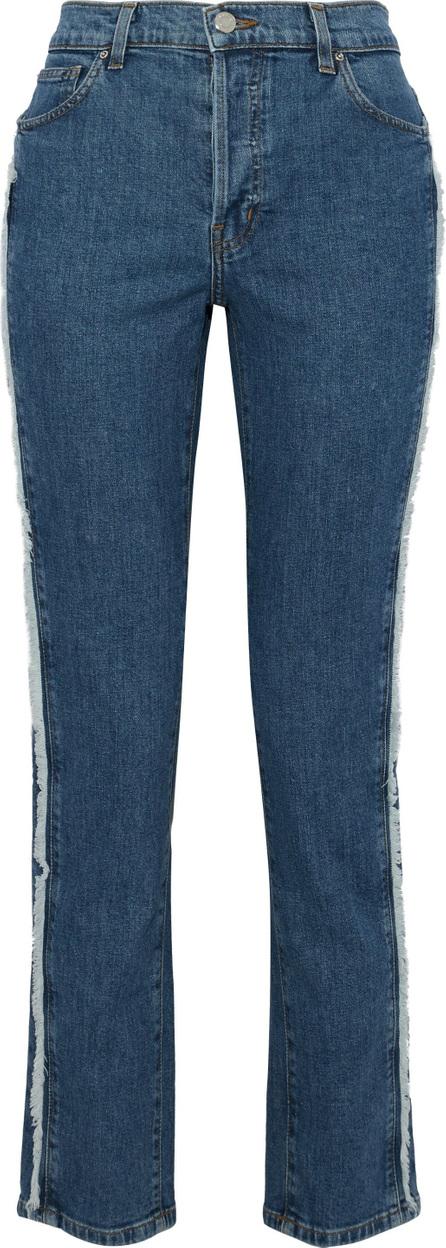 IRO Frayed high-rise straight-leg jeans