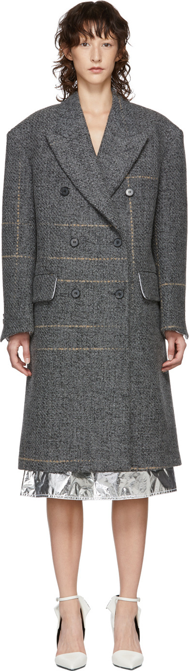 Calvin Klein 205W39NYC Grey Oversized Double-Breasted Coat