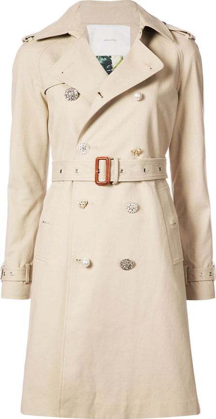 Adam Lippes embellished button trench coat