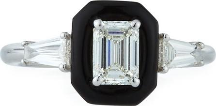Nikos Koulis Oui 18k White Gold Diamond & Black Enamel Solitaire Ring, Size 6.5