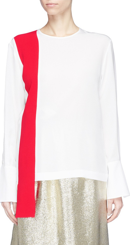 Stella McCartney Colourblock sash drape silk crepe top