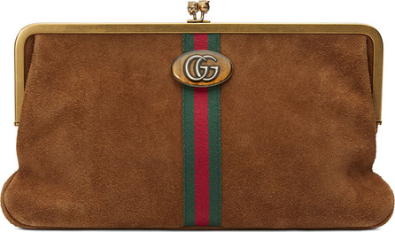 Gucci Ophidia GG Logo Suede Clutch Bag
