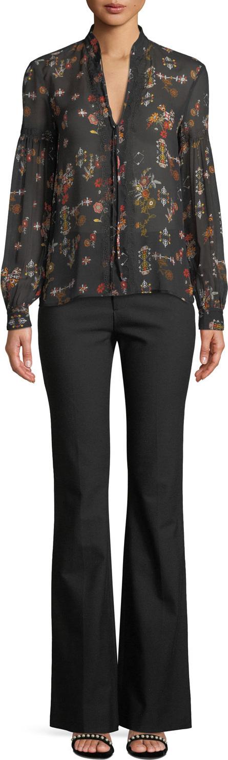 Derek Lam 10 Crosby Floral Silk Tie-Neck Long-Sleeve Blouse