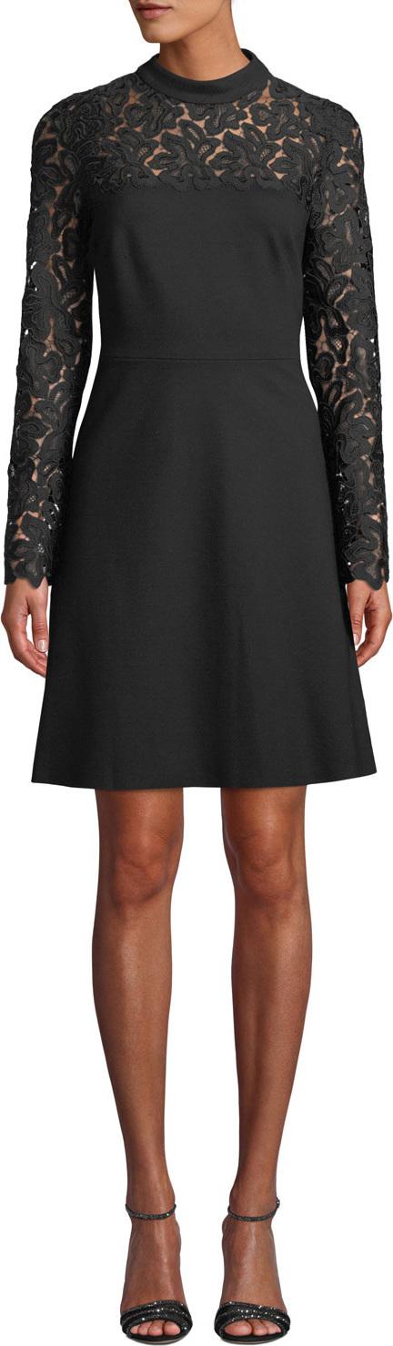 Elie Tahari Jenessa Lace-Yoke A-Line Dress