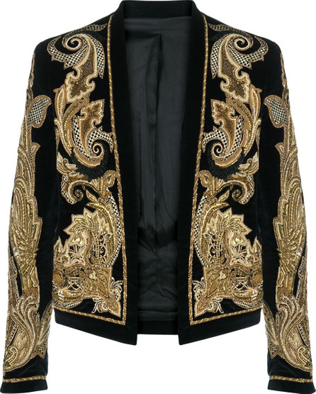 Balmain Embroidered beaded cropped jacket