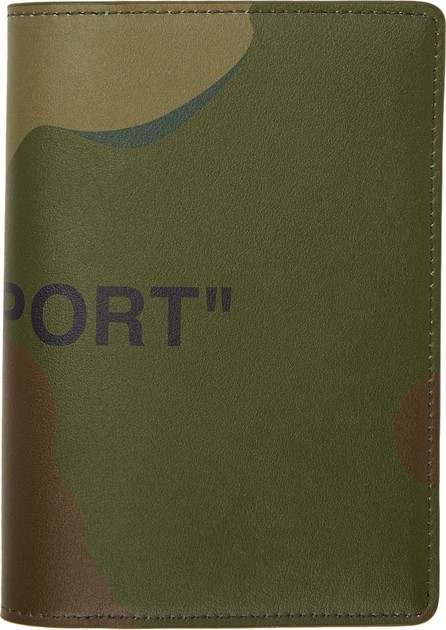 Off White Khaki Camo Quote Passport Holder