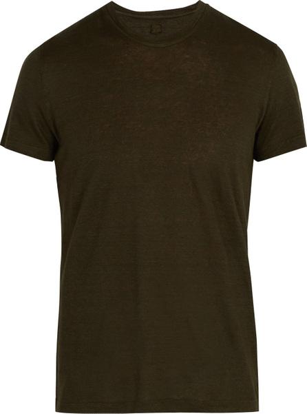 120% Lino Crew neck linen jersey T-shirt