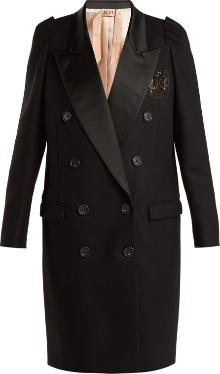 Nº21 Contrast-lapel double-breasted overcoat