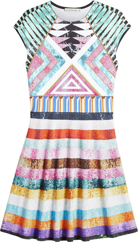 Mary Katrantzou Printed Dress with Sequins