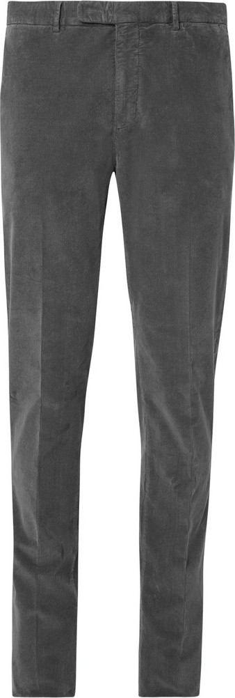 Boglioli Grey Slim-Fit Stretch-Cotton Corduroy Suit Trousers