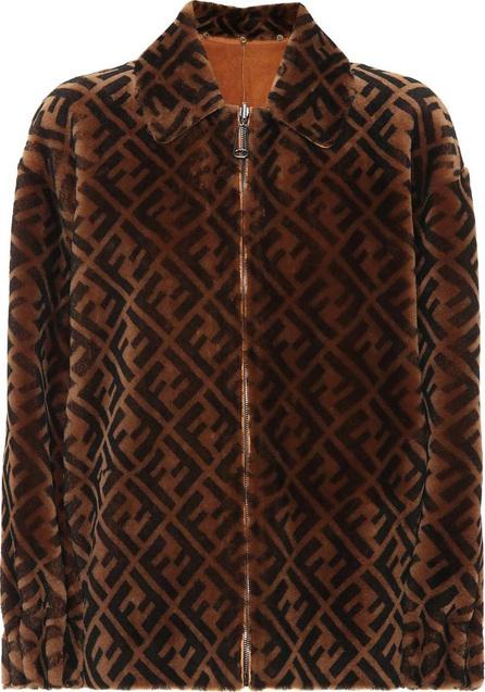 Fendi Logo shearling jacket