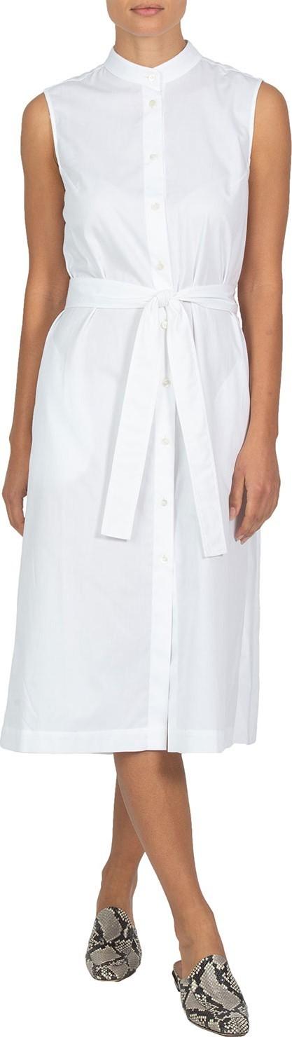 Eleventy Pleated-Back Sleeveless Poplin Dress