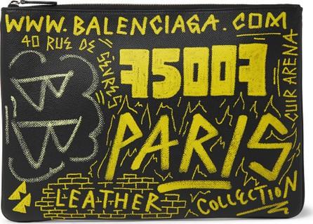 Balenciaga Printed Full-Grain Leather Pouch