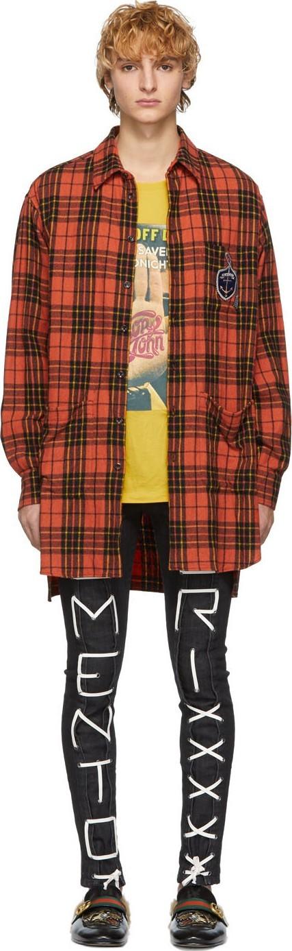 Gucci Orange & Black Check Wool Oversized Shirt