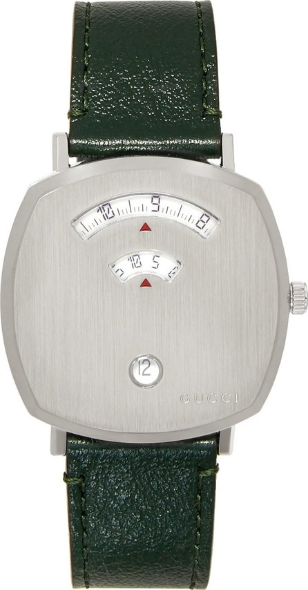 Gucci Silver & Green Grip Watch