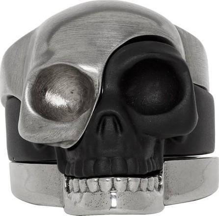 Alexander McQueen Gunmetal & Black Divided Skull Ring Set