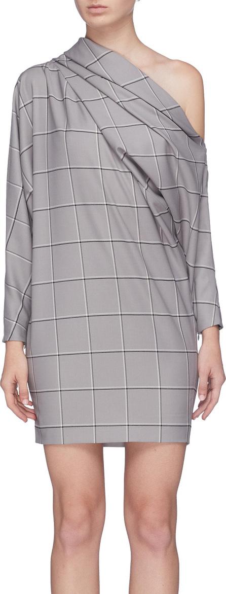 Carmen March Windowpane check one-shoulder dress