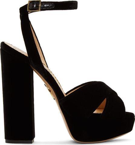 Charlotte Olympia Black Velvet Diana Platform Sandals
