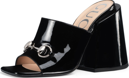 Gucci Patent Chunky-Heel Slide Sandals